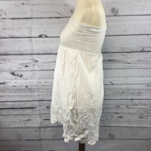 Dresses - Crochet Off White Strapless Dress